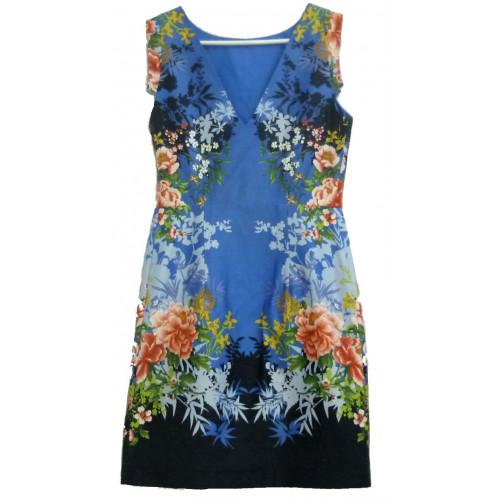 Сарафан синий с цветами
